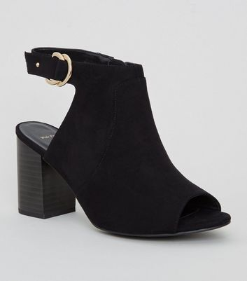 Wide Fit Black Suedette Peep Toe Western Boots
