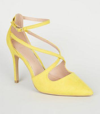 Wide Fit Yellow Suedette Strappy Pointed Stilettos