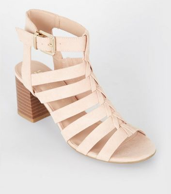Girls Nude Gladiator Peep Toe Block Heels