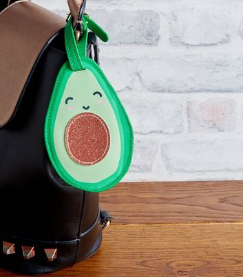 Green Avocado Glitter Stone Luggage Tag
