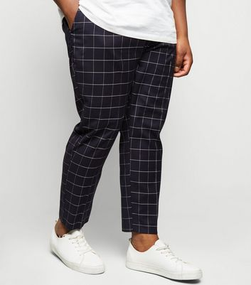 Plus Size Navy Grid Check Skinny Crop Trousers