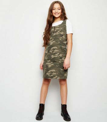 Girls Green Camo Zip Denim Pinafore Dress
