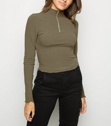 Khaki Funnel Neck Frill Ring Zip Top