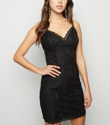 Black Lace Strappy Bodycon Dress