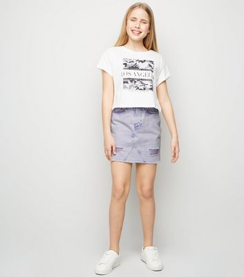 Girls Lilac Ripped Denim Mom Skirt