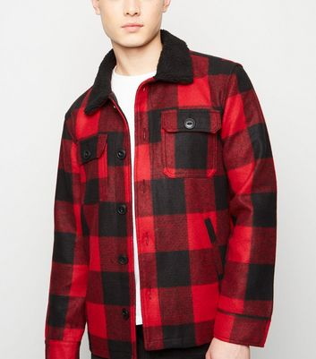 Red Check Borg Collar Shacket