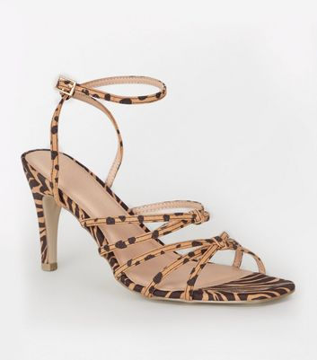 Wide Fit Stone Animal Print Heels