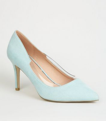 Wide Fit Green Suedette Clear Panel Court Shoes