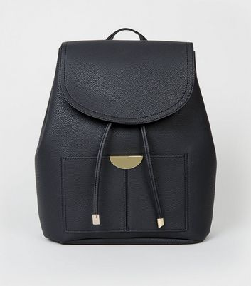 Black Leather-Look Drawstring Front Backpack