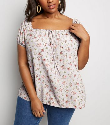 Curves Lilac Ditsy Floral Tie Front Top
