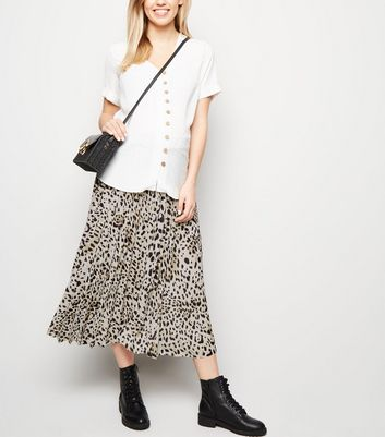 Maternity Brown Leopard Print Pleated Skirt