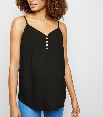 Maternity Black Button Front Cami