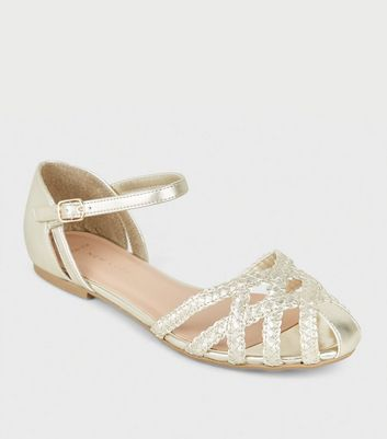 Wide Fit Gold Plait Strap Caged Sandals