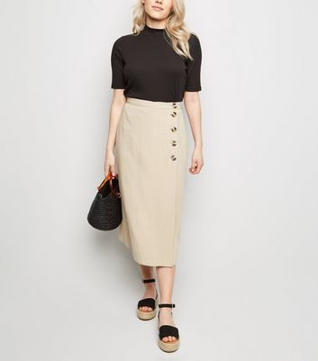 Petite Camel Linen-Look Button Up Midi Skirt