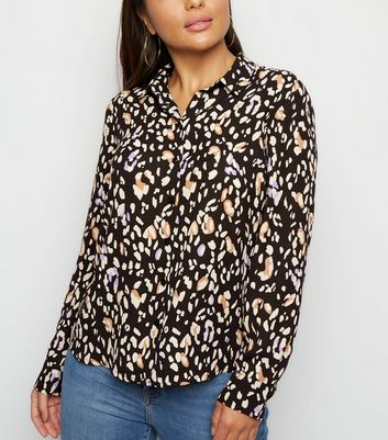 Petite Black Animal Print Shirt