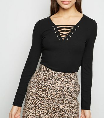 Petite Black Lattice Front Long Sleeve Top