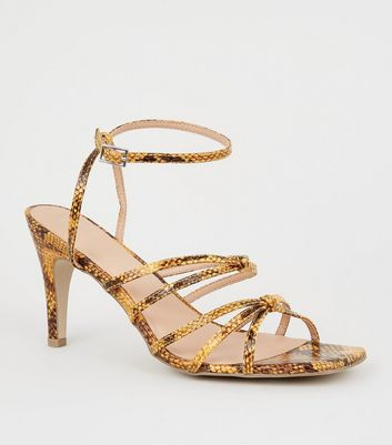 Wide Fit Yellow Faux Snake Strappy Kitten Heels