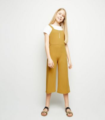 Girls Mustard Ribbed Zip Front Jumpsuit