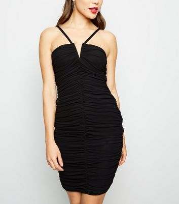 Black Mesh Ruched Notch Dress