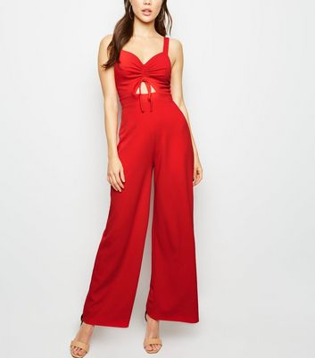 Red Ruched Front Wide Leg Jumpsuit