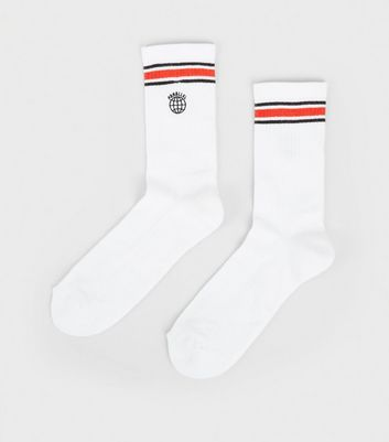 White Parallel Embroidered Sports Socks