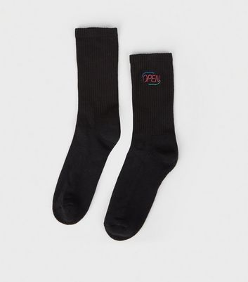 Black Neon Open Sign Embroidered Socks