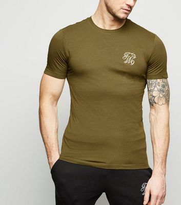 Green TW9 Embroidered Muscle Fit T-Shirt