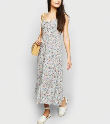 White Floral Lattice Frill Hem Maxi Dress