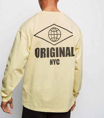 Pale Yellow Original Slogan Long Sleeve T-Shirt