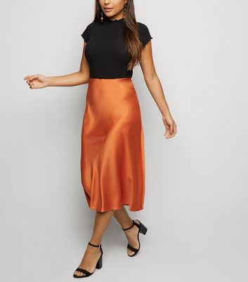 Petite Rust Satin Bias Cut Midi Skirt