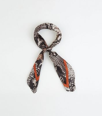 Orange Snake Print Satin Square Scarf