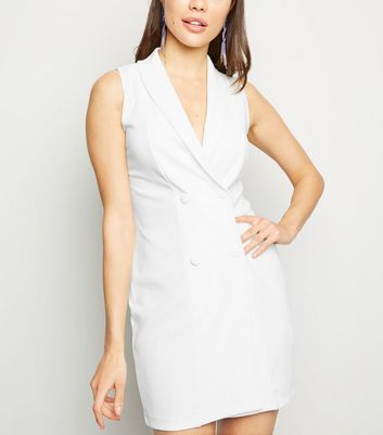 White Sleeveless Tuxedo Dress