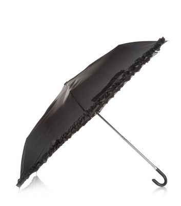 Black Frill Trim Umbrella New Look