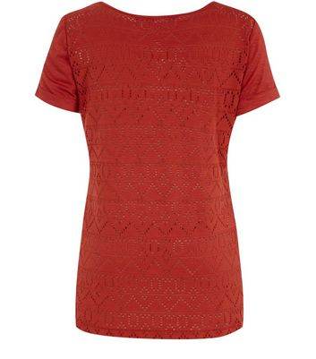 Brown Aztec Lace Back T-Shirt New Look