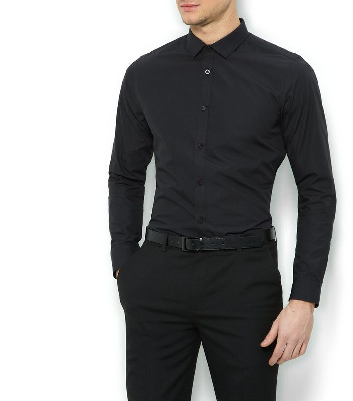 0b752541522 Black Long Sleeve Slim Fit Shirt