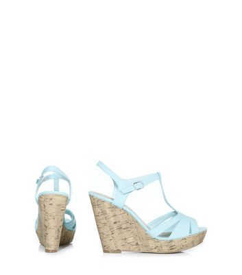 Mint Green Strappy T-Bar Cork Wedges New Look
