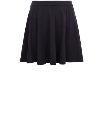Curves Black Flounce Skater Skirt New Look