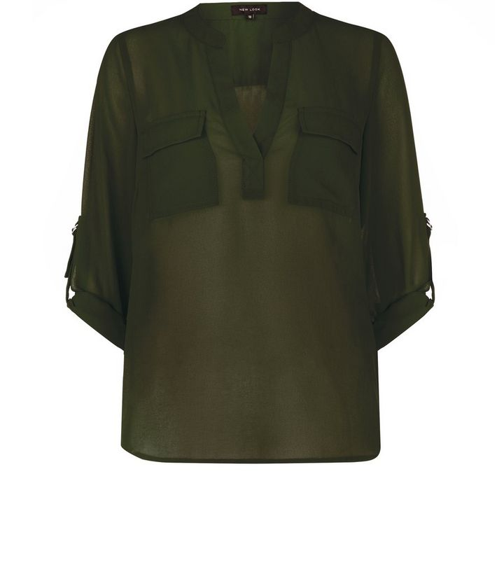 0f51e22d16298 Khaki Pocket Front Chiffon Blouse