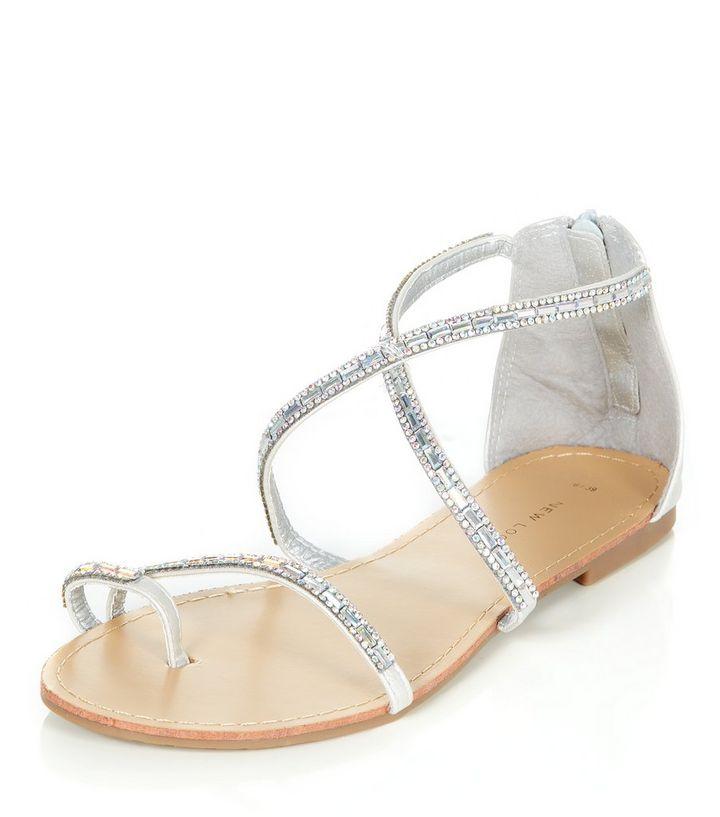 828ae4858cd Silver Diamante Strappy Sandals