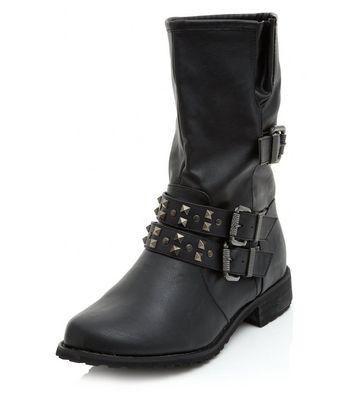 Black Studded Buckle Strap Biker Boots
