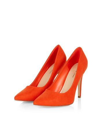 Bright Orange Pointed Court Shoes New Look