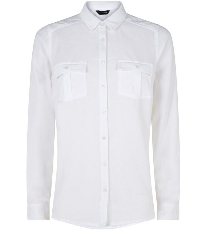 647f3fb96 White Double Pocket Long Sleeve Shirt | New Look