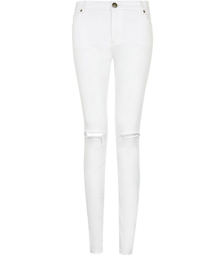 ed2824e3bb6 White Ripped Knee Skinny Jeans | New Look