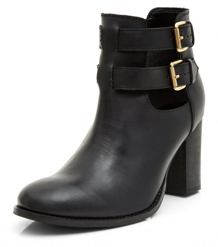 Black Leather Cut Out Buckle Strap Block Heel Ankle Boots   New Look 352c5ae9efee