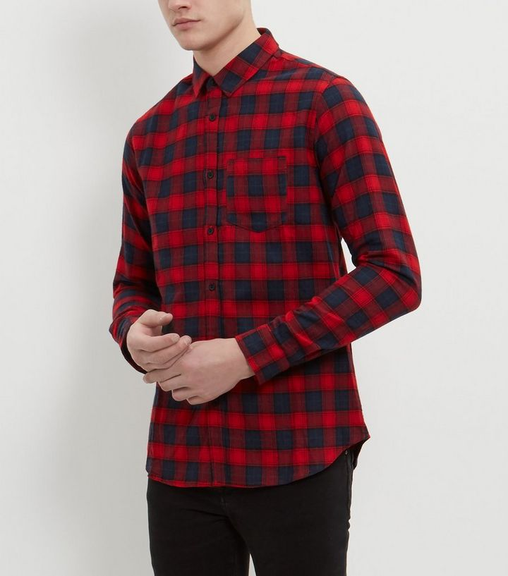 49c4366075a Navy and Red Long Sleeve Check Shirt | New Look