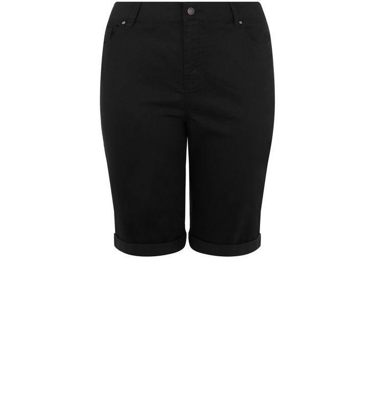 6b2cdb47a Curves Black Knee Length Boyfriend Shorts   New Look