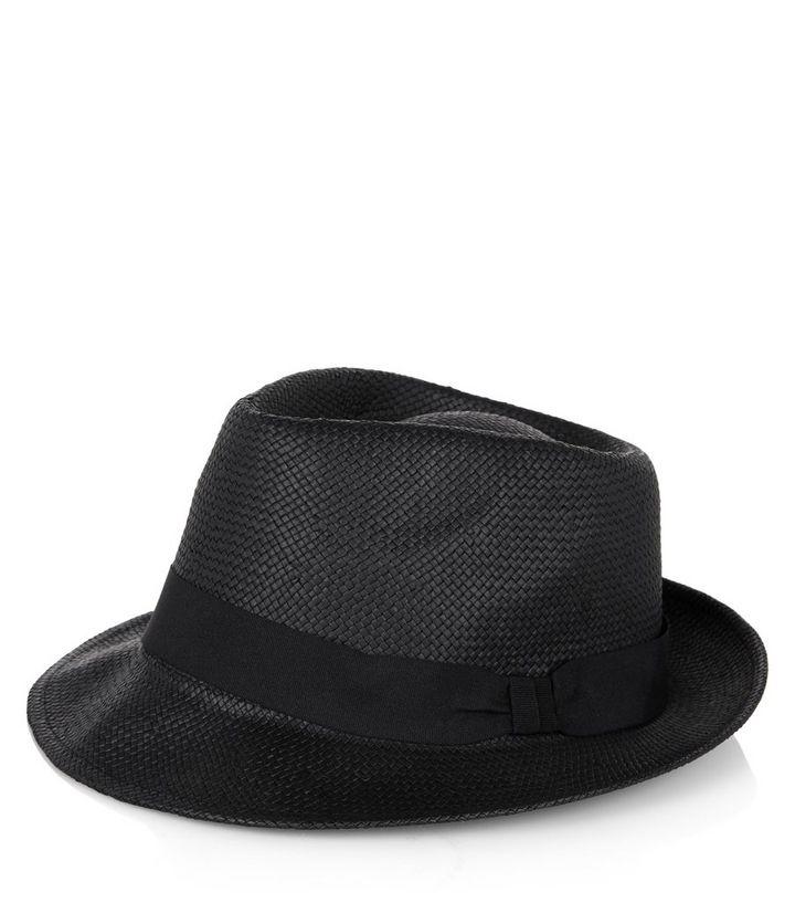 Black Straw Trilby Hat  99dc51aff0f