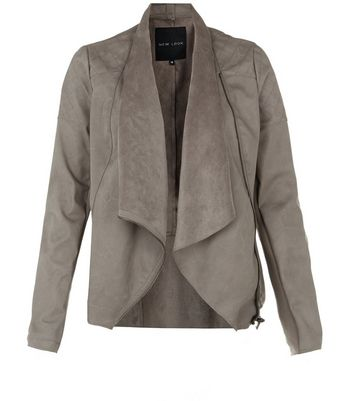 Mink Suedette Panel Waterfall Jacket New Look