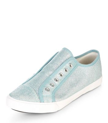 Wide Fit Blue Glitter Laceless Trainers