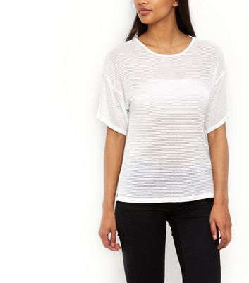 White Fine Knit Sheer Ribbed Kimono T-Shirt New Look